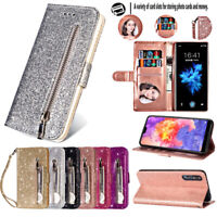 For Huawei P30 P20 Mate 20 Lite Glitter Leather Zip Card Wallet Flip Case Cover