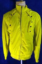 NEON YELLOW track suit jacket parachute break dance 2XL sport coat dayglow 80