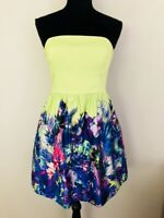 Forever New Women's size 12 Dress Strapless Multi-Coloured Floral Lined
