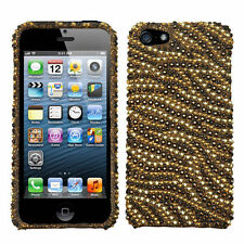 For iPhone 5 5S SE Crystal Diamond BLING Hard Case Snap On Phone Cover Tiger