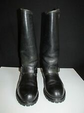 H H Double H West Vintage Black Leather Bike Motorcycle Boot US 9E