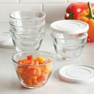 Pampered Chef 1 CUP GLASS PREP BOWL SET of 6 with Lids #1825