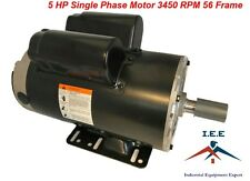 "5 HP Compressor Duty Electric Motor 1 Phase 3450 RPM 56 Frame 7/8"" Shaft 230V"
