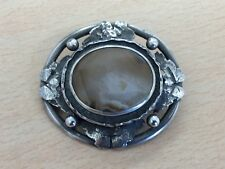 ANTIQUE ARTS & CRAFTS SILVER & AGATE BROOCH PIN 1910