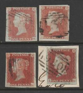 QV 1d Red Imperforate x 4 Stamps. 1844 type cancellations.