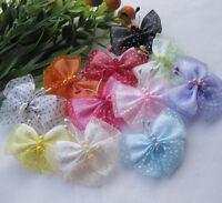 E266 Upick Organza Ribbon Flowers Bows Butterfly Wedding Appliques 20pcs