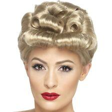 40s Mesdames robe fantaisie perruque blonde boucles vintage au détail # 29608 nouveau Smiffys