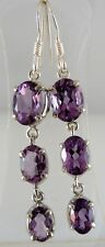 Sterling Silver Earrings purple Amethyst E82
