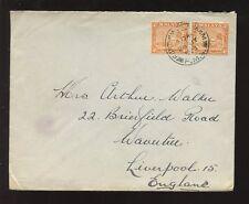 MALAYA 1938 PORT SWETTENHAM POSTMARK...PAIR of 4c to LIVERPOOL