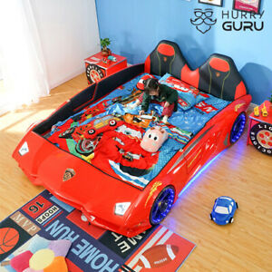 New Kids Car 1.2 M Bed Open Door Luxury car bed with Leather Seat, Music, LED