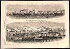 General Burnside's navy Expedition 1862 Civil War engraved naval ships print