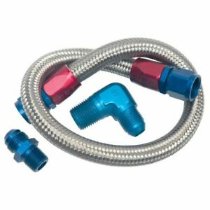 "Edelbrock 8122 22"" Stainless Steel Braided Fuel Line Kit - 0.562"" Outside"