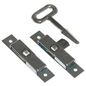 2 große Verschluß Riegel + Vierkant Schlüssel Einbau Klappe Türriegel Keller Neu