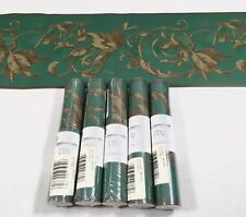 Architectural Acanthus Leaf Ornate Scroll Green Gold Wall Paper Border Lot of 5
