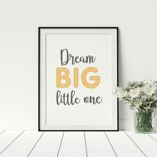 Motivational Kids Room Poster Dream Big Little One Print Inspirational Artwork