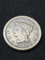 1847 Braided Hair Large Cent | Very Fine | 3,500 Survival | Free Shipping | 19-7