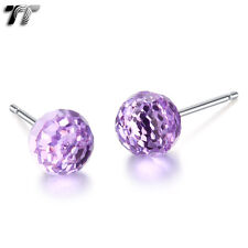 TT 925 Sterling Silver 4mm Prism Round Ball Crystal Earrings (925E05)
