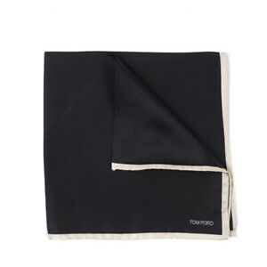 New $180 TOM FORD Black Silk Pocket Square with Contrasting Border