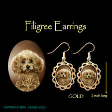 Poodle Dog Toy Mini Chocolate - Gold Filigree Earrings Jewelry