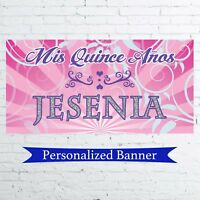 "18""x36"" Mis Quince Anos Quinceanera Personalized Party Banner Quinceanera Banner"
