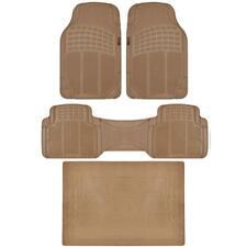 MOTORTREND Odorless Premium Ridged Rubber Floor Mats / Cargo Trunk Liner Beige
