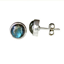 9 MM Natural Labradorite Gemstone Earring 925 Solid Sterling Silver Jewelry 279