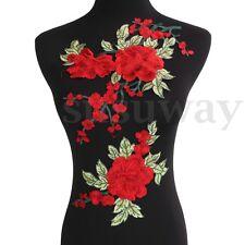 2Pcs Flor Floral Bordado Remiendo Apliques Parches de Encaje Costura Coser Ropa