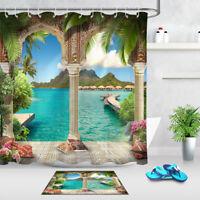 Arabian Arch Sea Views Waterproof Fabric Bathroom Shower Curtain Liner & Hooks