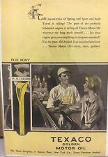 1928 TEXACO GOLDEN MOTOR OIL BASEBALL AD - Pristine Condition!