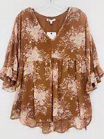 DR2 by Daniel Rainn Womens Small Blouse Rust Chiffon Floral Boho Top Shirt NWT