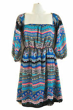 Western Dress S Tribal Boho Off Shoulder Entro USA Country Cinched Colorful