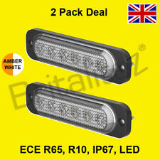2 X Vehicle Warning Lights, AMBER WHITE, Van, 6x3W LED, Strobe Lamp, Britalitez