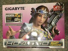 ✔ used Gigabyte HD4650 GV-R465D2-1GI AGP 1GB RARE videocard with HDMI port!!
