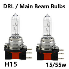 2 x H15 15/55W DRL MAIN BEAM CLEAR HEADLIGHT BULBS ULTRA BRIGHT UK EU ROAD LEGAL