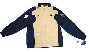 Adidas Climalite Notre Dame Full Zipper Sweat Shirt Jacket Navy Gold Sz XXL 2XL