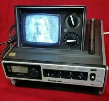 Vintage 1977 Panasonic Portable Pop-Up B&W Tv & Am/Fm Radio Model Tr-535 Works