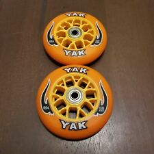 2x 100mm Replacement ORANGE Wheels + ABEC-7 Bearings for Razor Pro Kick Scooter