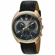 Bulova Curv 43mm Stainless Steel Black Leather Strap Analog-Quartz Men's Watch (98A156)
