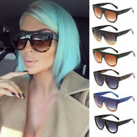 Flat Top Oversized Sunglasses Women Men Fashion Designer Shadow Shield Eyewear