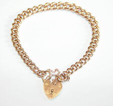 Lovely Solid 9ct Rose Gold Graduated Curb Bracelet With Padlock 22.8 grams