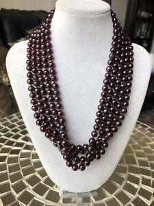 "Vintage '70s Multi Strand Genuine Garnet Beads Necklace 20"", 280G"