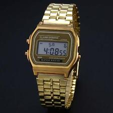 Retro Women Men Stainless Steel LED Digital Alarm Sport Stopwatch Watch Gold GA