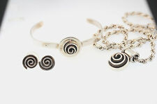 Necklace Cuff Bracelet Earrings Set Mexico Sterling Silver Swirll Circle Pendant