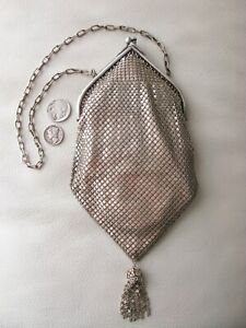 Antique Art Deco Silver Frame Filigree Tassel Satin Lined Micro Chain Mail Purse