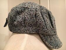 ManhattanHat Company Herringbone Cap Hat Beanie D&Y Wool Blue Gray Black