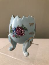 Vintage Napco Footed Ceramic Egg Vase - Blue Purple Roses - Japan