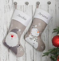 Personalised Embroidered Christmas Stocking Traditional Santa Boot Silver Santa