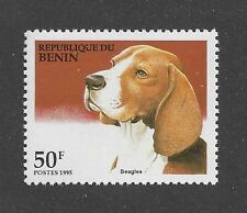 Beautiful! Dog Art Head Study Portrait Postage Stamp BEAGLE HOUND Benin 1995 MNH
