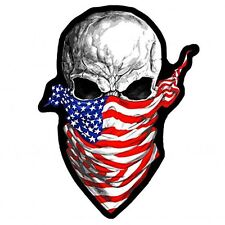 AMERICA RISING SKULL EMBROIDERED 4 INCH IRON ON MC BIKER PATCH