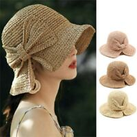 Bow-knot Sun Hats Wide Brim Women Beach Panama Straw Hats Bucket Hat Shade Cap
